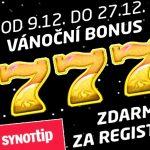 Vánoční bonus 777 Kč Synot tip Casino