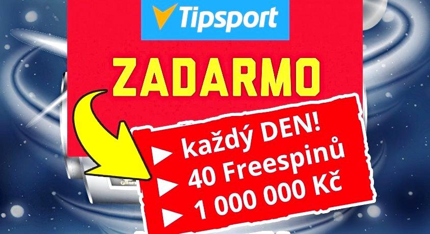 Tipsport 400 freespinů zdarma a milion Kč