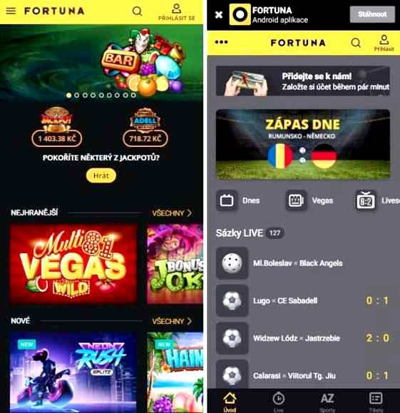 Fortuna Vegas casino aplikace na mobil