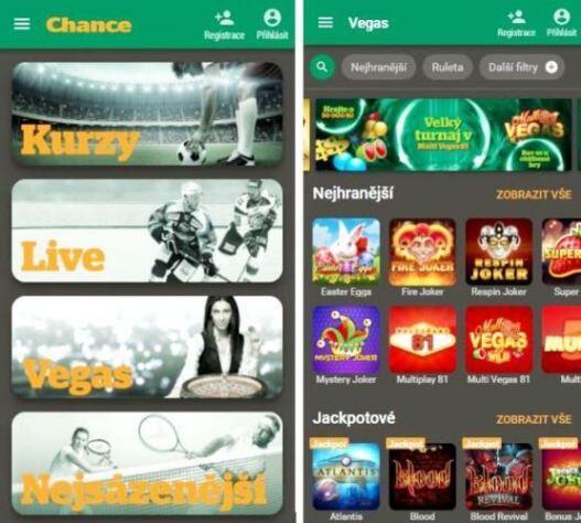 chance vegas casino aplikace iphone android instalace