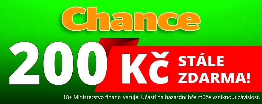 Chance 200 Kč bonus zdarma